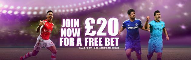 Claim your £20 free bet