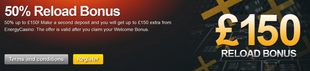 50% Reload Bonus up to £150